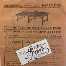 Coleccionismo de carteles: PROPAGANDA DE ESCARDIBUL TENIS DE MESA O PING PONG. Lote 194383321