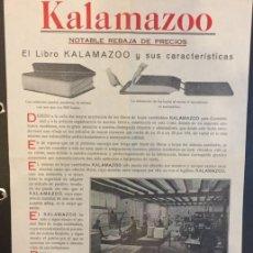 Coleccionismo de carteles: PROPAGANDA KALAMAZOO EL LIBRO Y SUS CARACTERISTICAS 1930. Lote 194384690