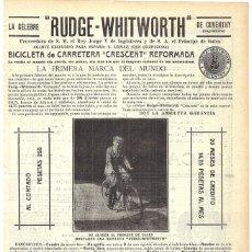 Coleccionismo de carteles: 1911 HOJA REVISTA PUBLICIDAD ANUNCIO RECORTE PRENSA BICICLETA DE CARRETERA CRESCENT RUDGE-WHITWORTH. Lote 194393571