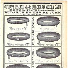 Coleccionismo de carteles: 1911 HOJA REVISTA PUBLICIDAD ANUNCIO RECORTE PRENSA JOYERÍA 'EL TRUST' PULSERAS DE ORO MEDIA CAÑA. Lote 194393637