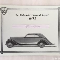 Coleccionismo de carteles: PEUGEOT 601 LE CABRIOLET GRAND LUXE CARTEL AÑOS 30. Lote 194397368