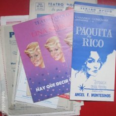 Coleccionismo de carteles: LOTE 18 PROGRAMAS DE TEATRO VER FOTOS ADICIONALES TEATRO APOLO RUZAFA. Lote 194406246
