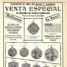 Coleccionismo de carteles: 1911 HOJA REVISTA PUBLICIDAD ANUNCIO RECORTE PRENSA MEDALLAS DE ORALINA 'BRILLANTES DE BORO' MADRID. Lote 194523013