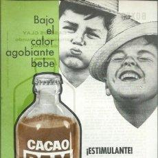 Coleccionismo de carteles: FOLLETO PUBLICITARIO CACAO RAM LA BEBIDA DEL DEPORTISTA - BOXEO CASSIUS CLAY - AÑOS 60, D.L. 21691. Lote 194537165