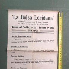 Coleccionismo de carteles: LA BOLSA LERIDANA. Lote 194619065