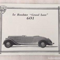 Coleccionismo de carteles: CARTEL PEUGEOT 601 LA ROADSTER GRAND LUXE. Lote 194641400