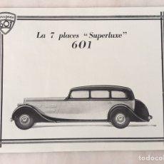 Coleccionismo de carteles: CARTEL PEUGEOT 601 LA 7 PLACES SUPERLUXE CHASIS LARGO. Lote 194648047