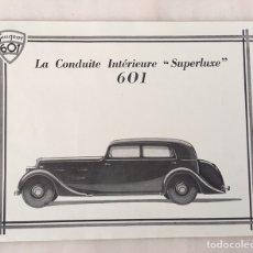 Coleccionismo de carteles: TEL PEUGEOT 601 LA CONDUITE INTERIURE SUPERLUXE. Lote 194648183