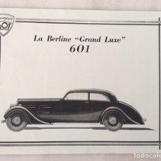 Coleccionismo de carteles: CARTTEL PEUGEOT 601 LA BERLINE SÚPER LUXE. Lote 194648242