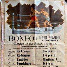Coleccionismo de carteles: CARTEL DE BOXEO EN ALCANTARILLA MURCIA - 31X46 CM - AÑOS 60. Lote 194677842