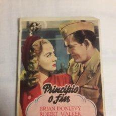 Coleccionismo de carteles: PRINCIPIO Y FIN PROGRAMA ANTIGUO DE CINE FOLLETO DE MANO. Lote 194737586