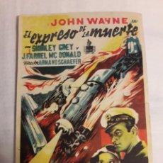 Coleccionismo de carteles: EL EXPRESO DE LA MUERTE FOLLETO ANTIGUO FÉ MANO PROGRAMA DE CINE. Lote 194738085