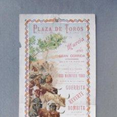 Coleccionismo de carteles: CARTEL PLAZA DE TOROS DE MURCIA. 4 DE ABRIL DE 1899. 49 X 21 CM.- DIESTROS: GUERRITA, REVERTE Y BOMB. Lote 194765808