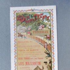 Coleccionismo de carteles: CARTEL PLAZA DE TOROS DE FIGUERAS. 3 DE MAYO DE 1900. 48,5 X 21 CM.- DIESTROS: LUIS MAZZANTINI, JOSÉ. Lote 194765920