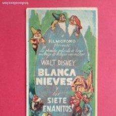 Coleccionismo de carteles: FOLLETO DE MANO PROSPECTO PROGRAMA DE CINE PELICULA BLANCA NIEVES BLANCANIEVES Y LOS SIETE ENANITOS. Lote 194775008