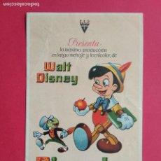 Coleccionismo de carteles: FOLLETO DE MANO PROSPECTO PROGRAMA DE CINE PELICULA , PINOCHO , WALT DISNEY. Lote 194775143