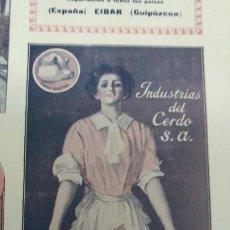 Coleccionismo de carteles: INDUSTRIAS DEL CERDO S.A FABRICAS EN MANACOR MISLATA BALENYA PONT D'INCA BARCELONA HOJA AÑO 1920. Lote 194880747