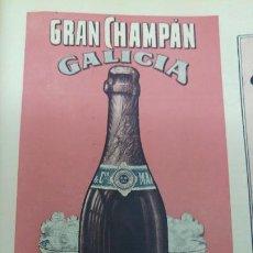 Coleccionismo de carteles: GRAN CHAMPAN GALICIA MANUEL COSTAS Y Cª VIGO HOJA PUBLICIDAD AÑO 1920. Lote 194881532