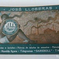 Coleccionismo de carteles: FABRICA HILADOS ESTAMBRE LANAS SUCIAS Y LAVADAS PEINAJE LANAS JOSE LLOBERAS TARRASA HOJA AÑO 1920. Lote 194882197