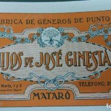 Coleccionismo de carteles: FABRICAS DE GENEROS DE PUNTO HIJOS DE JOSE GINESTA MATARO HOJA PUBLICIDAD AÑO 1920. Lote 194882275