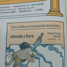 Coleccionismo de carteles: FABRICAS DE HILADOS DE LANA ALBAREDA Y SERRA ESPECIALIDAD NUMEROS DELGADOS SABADELL HOJA AÑO 1920. Lote 194882835