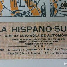 Coleccionismo de carteles: LA HISPANO SUIZA FABRICA ESPAÑOLA DE AUTOMOVILES BARCELONA HOJA PUBLICIDAD AÑO 1920. Lote 194893562