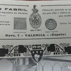 Coleccionismo de carteles: UNION FABRIL DE ASIENTOS Y TABLEROS DE MADERA S.L. VALENCIA HOJA PUBLICIDAD AÑO 1920. Lote 194893771