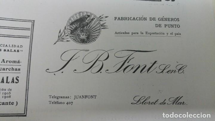 FABRICACION DE GENEROS DE PUNTO -JUAN .B.FONT- LLORET DE MAR HOJA PUBLICIDAD AÑO 1920 (Coleccionismo - Carteles Pequeño Formato)