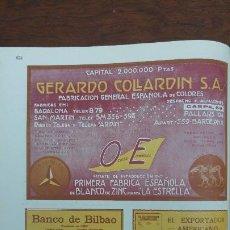 Coleccionismo de carteles: FABRICACION ESPAÑOLA DE COLORES -GERARDO COLLARDIN- BLANCO DE ZINC BARCELONA OCRES HOJA AÑO 1920. Lote 194894708