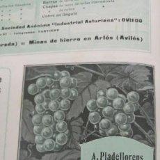 Coleccionismo de carteles: VINOS SELECTOS - A.PLADELLORENS Y J.LOZANO - MARCA MAGIN PLADELLORENS BARCELONA HOJA AÑO 1920. Lote 194894960