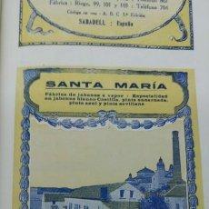 Coleccionismo de carteles: FABRICA DE JABONES A VAPOR -SANTA MARIA- PERSONAL DE ANDUJAR CORDOBA PINTA HOJA REVISTA AÑO 1920. Lote 194895285
