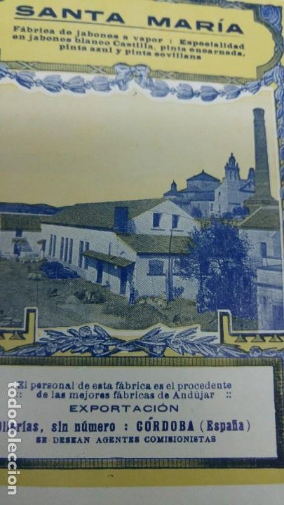 Coleccionismo de carteles: FABRICA DE JABONES A VAPOR -SANTA MARIA- PERSONAL DE ANDUJAR CORDOBA PINTA HOJA REVISTA AÑO 1920 - Foto 2 - 194895285