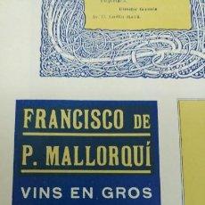 Coleccionismo de carteles: FRANCISCO DE P.MALLORQUI VINS EN GROS EL VENDRELL TARRAGONA HOJA REVISTA AÑO 1920. Lote 194895551