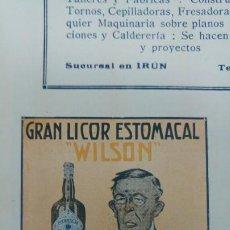 Coleccionismo de carteles: GRAN LICOR ESTOMACAL -WILSON - LA PAZ DEL ESTOMAGO PEDRO MOR LERIDA LLEIDA HOJA REVISTA AÑO 1920. Lote 194895757