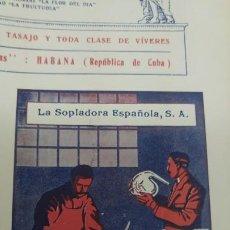 Coleccionismo de carteles: FABRICA OBJETOS CRISTAL SOPLADO GRABADO GRADUADO -LA SOPLADORA ESPAÑOLA S.A. -BARCELONA HOJA 1920. Lote 194906570