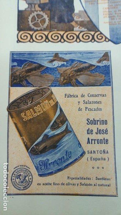 FABRICA DE CONSERVAS Y SALAZONES DE PESCADOS -SOBRINO DE JOSE ARRONTE- SANTOÑA SARDINAS HOJA 1920 (Coleccionismo - Carteles Pequeño Formato)