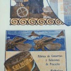 Coleccionismo de carteles: FABRICA DE CONSERVAS Y SALAZONES DE PESCADOS -SOBRINO DE JOSE ARRONTE- SANTOÑA SARDINAS HOJA 1920. Lote 194906633