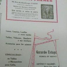 Coleccionismo de carteles: FABRICA LONAS TOLDOS BANDERAS VELAMEN LONETAS -GERARDO ESTAPE- MASNOU BARCELONA HOJA 1920. Lote 194906658