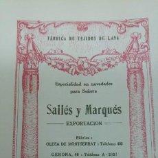 Coleccionismo de carteles: FABRICA DE TEJIDOS DE LANA ESPECIALIDAD NOVEDADES SEÑORA -SALLES Y MARQUES- -BARCELONA HOJA 1920. Lote 194906711