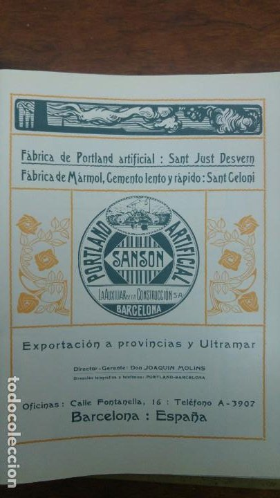 FABRICA PORTLAND ARTIFICAL -SANSON-SAN JUST DESVERN MARMOL CEMENTO SANT CELONI HOJA AÑO 1920 (Coleccionismo - Carteles Pequeño Formato)