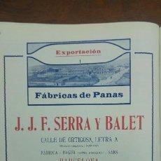 Coleccionismo de carteles: FABRICA DE PANAS -J.J.F.SERRA Y BALET - BARCELONA HOJA PUBLICIDAD AÑO 1920. Lote 194906783