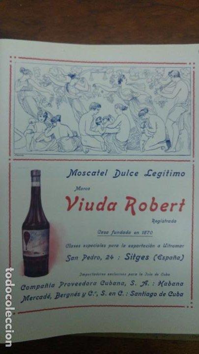 MOSCATEL DULCE LEGITIMO MARCA VIUDA ROBERT SITJES IMPORTADOR EXCLUSIVO ISLA CUBA HOJA AÑO 1920 (Coleccionismo - Carteles Pequeño Formato)