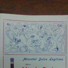 Coleccionismo de carteles: MOSCATEL DULCE LEGITIMO MARCA VIUDA ROBERT SITJES IMPORTADOR EXCLUSIVO ISLA CUBA HOJA AÑO 1920. Lote 194906788