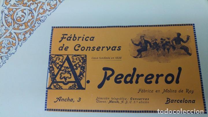 FABRICA DE CONSERVAS -A.PEDREROL- MOLINS DE REY BARCELONA HOJA PUBLICIDAD AÑO 1920 (Coleccionismo - Carteles Pequeño Formato)