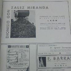 Coleccionismo de carteles: DIONISIO GONZALEZ MIRANDA CARBONES TODAS CLASE MINAS PROPIAS LEON CERAMICA HOJA REVISTA AÑO 1941. Lote 194977542