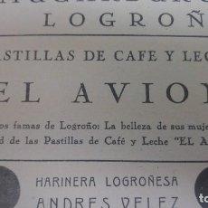 Coleccionismo de carteles: FABRICA PASTILLAS CAFE Y LECHE ALONSO HERMANOS/ -EL AVION-/ BOMBON MUGARBURU / LOGROÑO HOJA AÑO 1938. Lote 194977617
