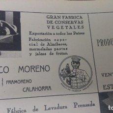 Coleccionismo de carteles: GRAN FABRICA CONSERVAS VEGETALES FRANCISCO MORENO CALAHORRA LA RIOJA HOJA REVISTA AÑO 1938. Lote 194977711