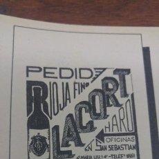 Coleccionismo de carteles: RIOJA FINO -LACORT- HARO COSECHAS 1904 Y 1930 HOJA REVISTA AÑO 1938. Lote 194977756