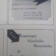 Coleccionismo de carteles: ESPARRAGOS ALCACHOFAS MERMELADAS VIUDA E HIJOS DE CRUZ MUERZA SAN ADRIAN NAVARRA HOJA AÑO 1938. Lote 194977798