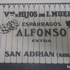 Coleccionismo de carteles: ESPARRAGOS ALFONSO EXTRA VIUDA DE I.MUERZA/ A.MUERZA CONSERVAS VEGETALES VIUDA OSES SAN ADRIAN 1938. Lote 194977870